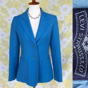 Vintage🌟70's Levi's Sky Blue Poly Blazer/Coat